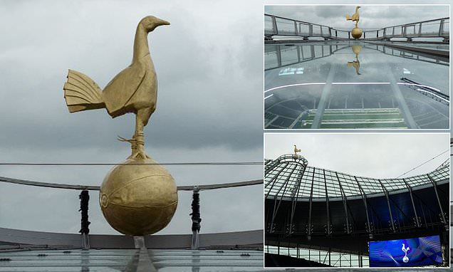 Spurs reveal stunning images of new Golden Cockerel on top of stadium