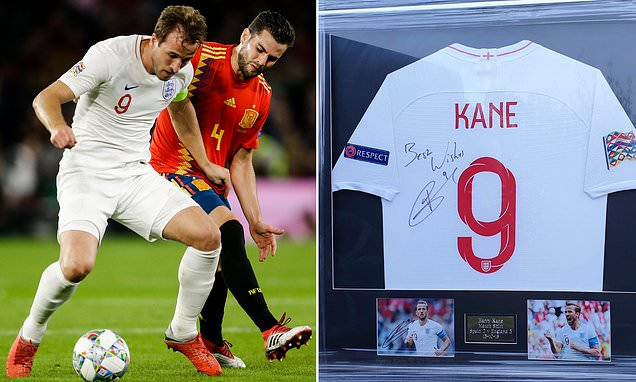 Harry Kane auctions off his shirt from England's win over Spain