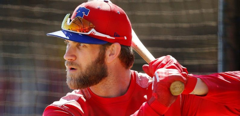 Harper walks twice in 1st spring ABs with Phillies