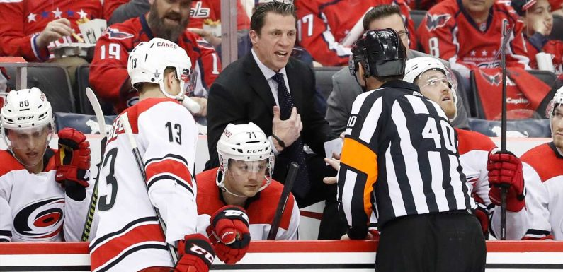 Carolina Hurricanes coach Rod Brind'Amour rips officials during in-game television interview