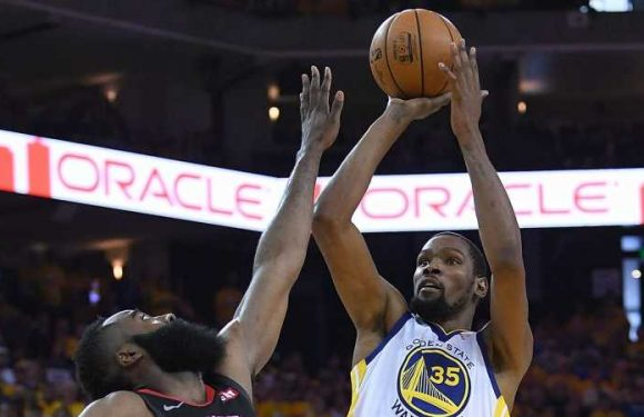Kevin Durant and James Harden each score 35 points in Golden State Warriors' win