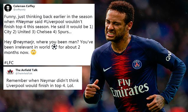 Fans mock Neymar for his top-four prediction on Liverpool