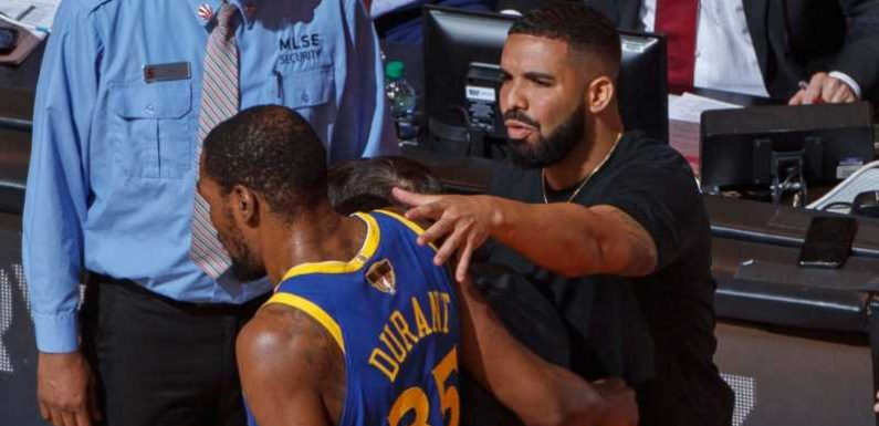 Drake consoles Kevin Durant as injured Warriors star leaves Game 5