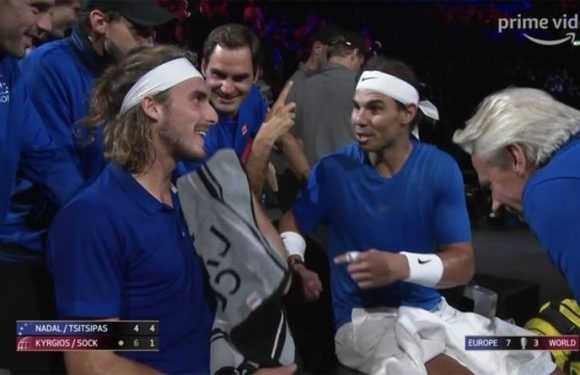 Rafael Nadal and Roger Federer in hilarious 'hand signal' moment with Stefanos Tsitsipas
