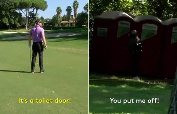 Tyrell Hatton distracted while playing a shot by his fiancée!