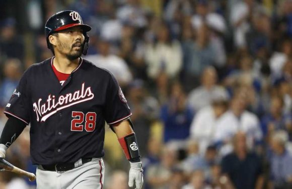 Nationals' Kurt Suzuki leaves game after taking 94-mph fastball off wrist and helmet