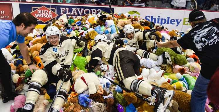 Hershey Bears fans set record by throwing more than 45,000 stuffed bears on ice
