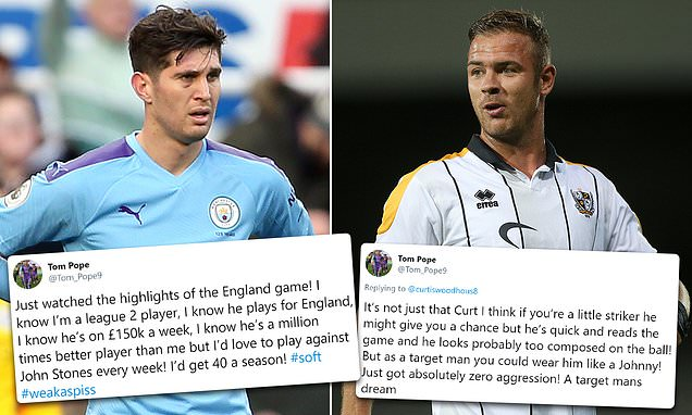 Port Vale's Tom Pope backtracks after Tweet on John Stones resurfaces
