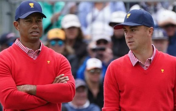 Tiger Woods reacts to historic flop
