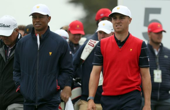 Tiger Woods and Justin Thomas will be first out for the United States