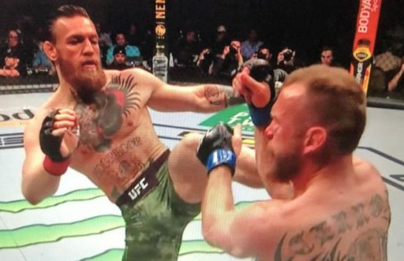 Conor McGregor's brutal kick that stopped Cowboy just 40 seconds into UFC return – picture