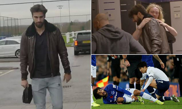 Everton's Andre Gomes is reunited with his team-mates at Finch Farm