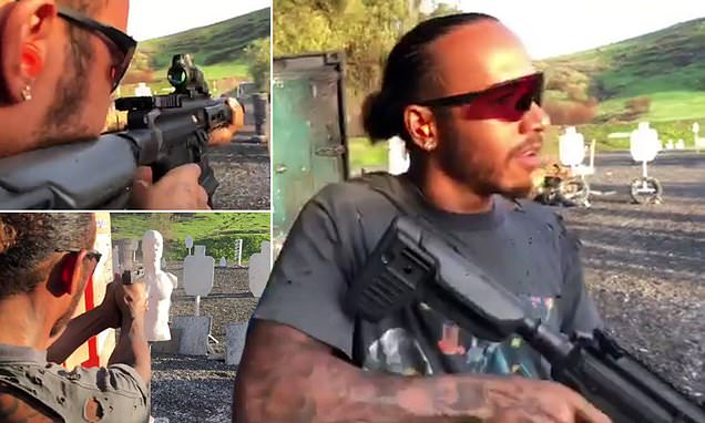 Lewis Hamilton shows off his incredible shooting skills