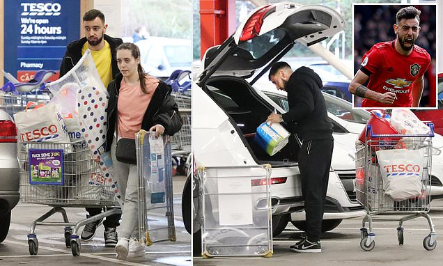 Bruno Fernandes and his wife stock up for their new lives in England