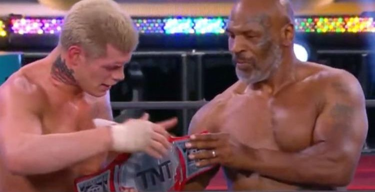 Mike Tyson shows off INCREDIBLE physique as he helps Cody Rhodes at AEW Double or Nothing