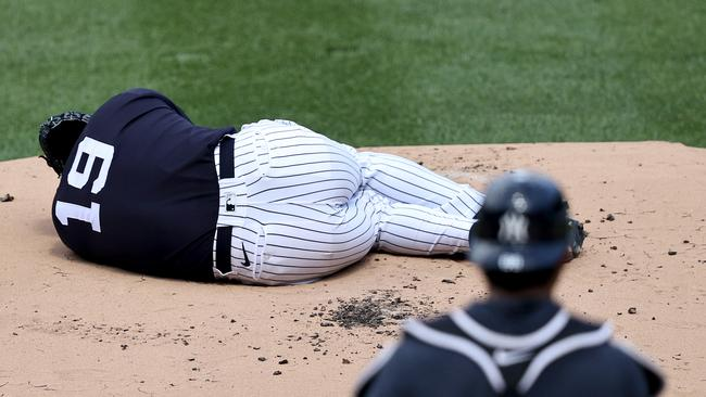 Terrifying moment Yankees pitcher struck down