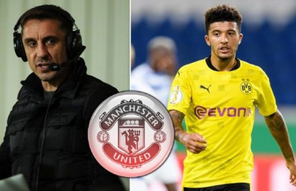 Gary Neville sends Jadon Sancho transfer message to Man Utd after Crystal Palace loss
