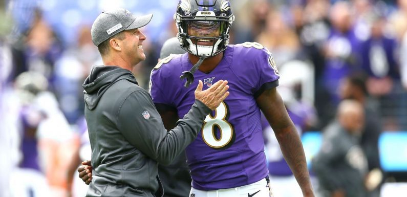 Harbaugh defends keeping Lamar in up 32 points