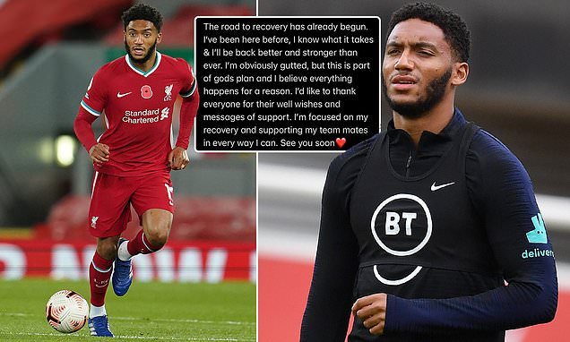 Liverpool's Joe Gomez vows to come back stronger after knee injury
