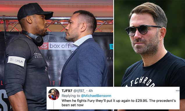 Some fans angry at £24.95 PPV price for Joshua's fight against Pulev