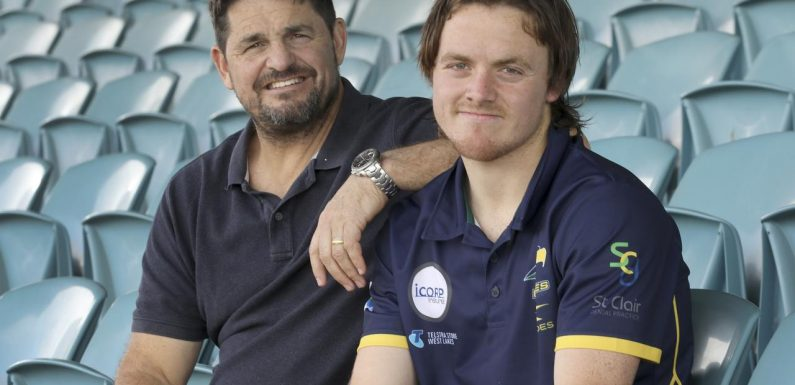 Former Crows player in tears on radio after son's dream becomes reality