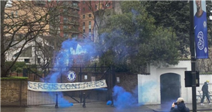 Chelsea fans protest over 'circus' at Stamford Bridge with banner and flares