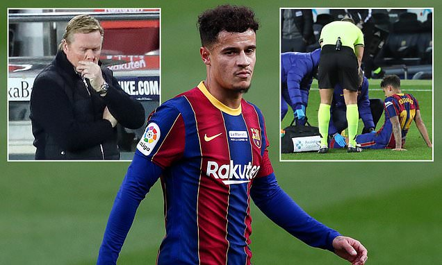 Barcelona reveal Coutinho will miss three months after knee surgery
