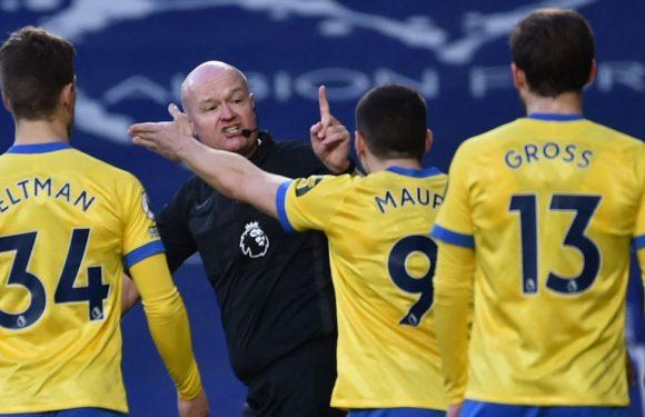 West Brom v Brighton descends into farce over Lee Mason's quick free-kick call