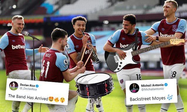 Michail Antonio and Declan Rice hail West Ham stars in 'boy band' pic
