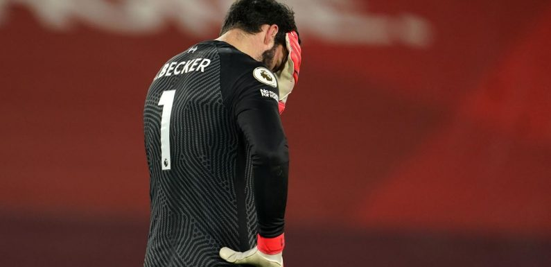 Records tumble in Liverpool horror show as Alisson fumbles the title defence