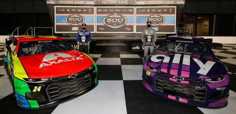 Daytona 500 qualifying 2021: Alex Bowman, William Byron on front row after pole qualifying