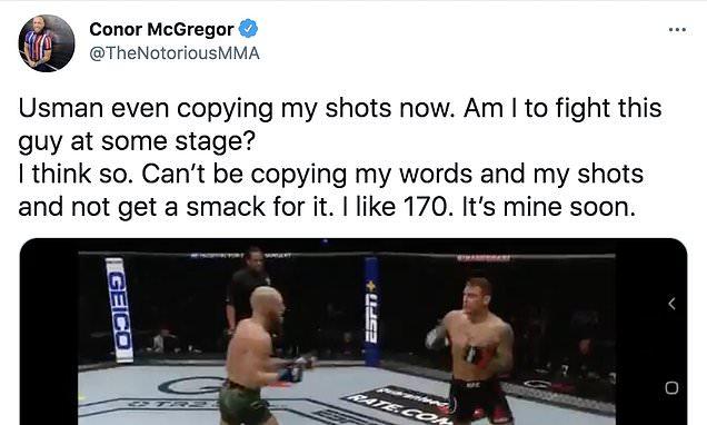 Conor McGregor accuses Kamaru Usman of 'copying' his shots at UFC 261