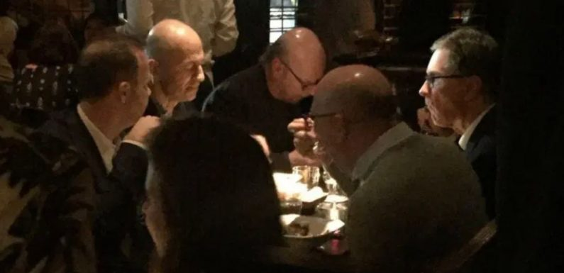 Ed Woodward, John W Henry and other ESL chiefs pictured enjoying meal together