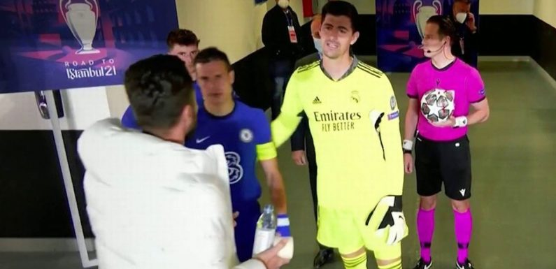Giroud and Courtois captured discussing Werner's miss in tunnel footage