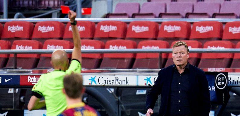 Koeman sent off as Barcelona capitulate and blow chance to go top of La Liga