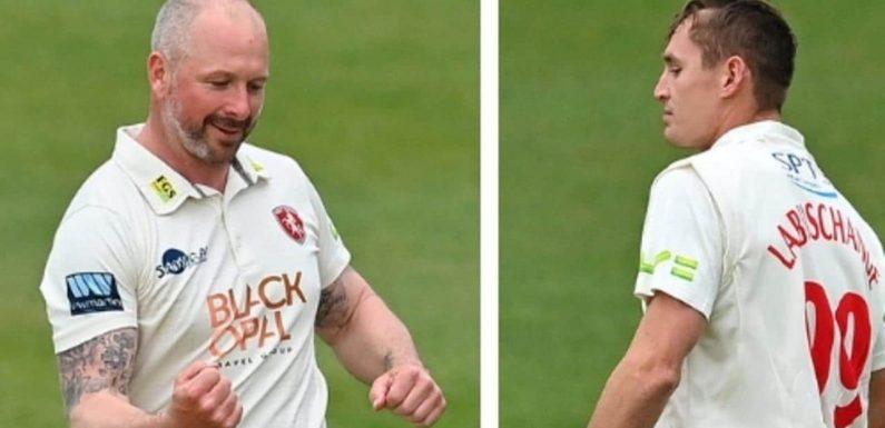 Marnus Labuschagne dismissed cheaply by English veteran Darren Stevens in County return