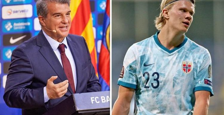 Barcelona president Joan Laporta made four pitches in Erling Haaland transfer talks