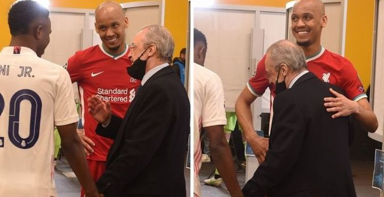 What Liverpool star Fabinho told Real Madrid chief Florentino Perez in private tunnel chat