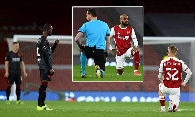 Slavia Prague STAND while Arsenal take the knee before Europa clash