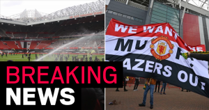 Protesting Man Utd fans invade Old Trafford pitch before Liverpool game