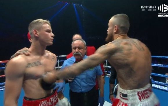 Instant karma after boxer's cheap shot