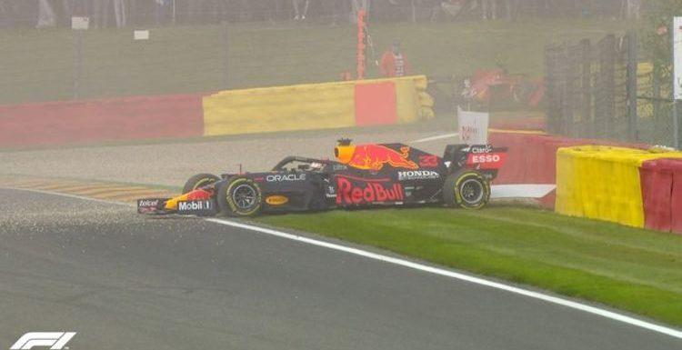 Max Verstappen crashes in Belgian Grand Prix practice to hand Lewis Hamilton advantage