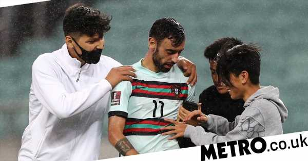 Bruno Fernandes mobbed for selfie DURING Portugal's win over Azerbaijan