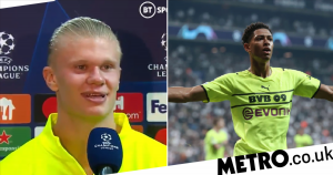 Erling Haaland reacts as Jude Bellingham breaks two Champions League records