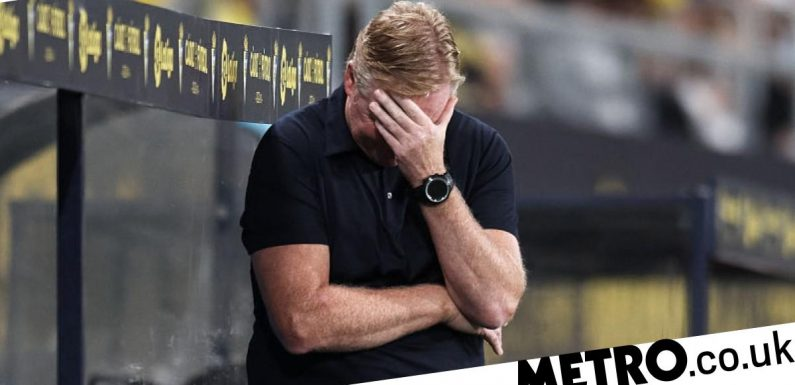 Furious Ronald Koeman reacts after he's sent off in Barcelona's draw with Cadiz