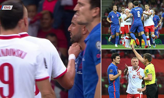 Kamil Glik pinches Kyle Walker's neck and sparks mass scuffle